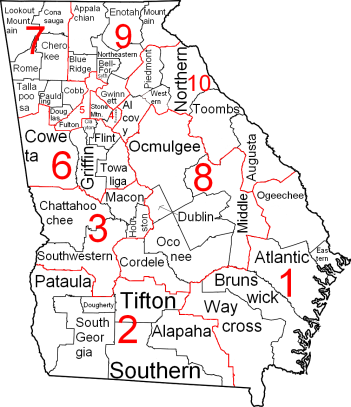 Georgia Judicial Circuits and Districts Map